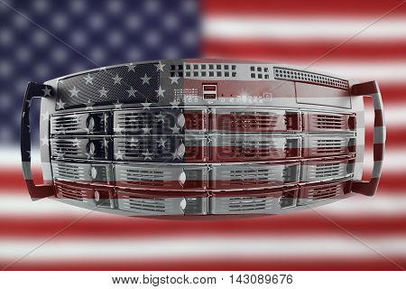Concept Server with the Flag of USA for use as local or country internet and hardware security image idea