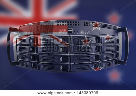 Concept Server with the Flag of New Zealand for use as local or country internet and hardware security image idea