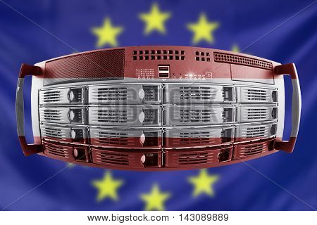Concept Server with the Flags of Europe and Austria for use as country or european internet and hardware security image idea