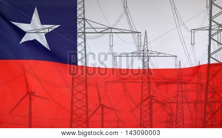 Concept Energy Distribution Flag of Chile merged with high voltage power poles