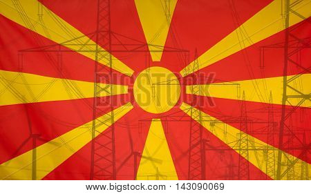 Concept Energy Distribution Flag of Macedonia merged with high voltage power poles