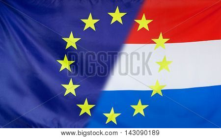 Netherlands and European Union relations concept with diagonally merged flags