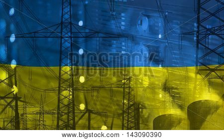 Concept Technology Environment Flag of Ukraine merged with technology high voltage power poles and electrical power plant cooling towers