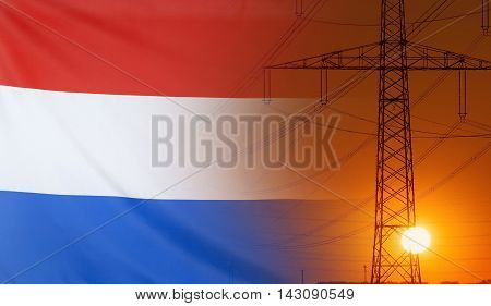Concept Energy Distribution Flag of Netherlands with high voltage power pole during sunset