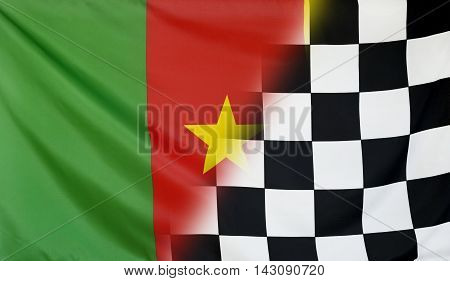 Winning concept consisting of the Cameroon and checkered goal flag merging each other