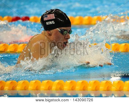 RIO DE JANEIRO, BRAZIL - AUGUST 8, 2016: Lilly King of the United States competes in the Women's 100m Breaststroke Final  of the Rio 2016 Olympic Games at the Olympic Aquatics Stadium