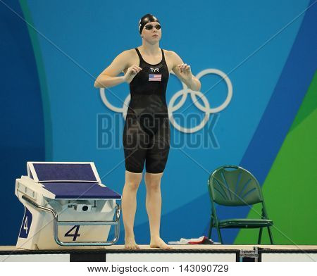 RIO DE JANEIRO, BRAZIL - AUGUST 8, 2016: Lilly King of the United States beforee the Women's 100m Breaststroke Final  of the Rio 2016 Olympic Games at the Olympic Aquatics Stadium