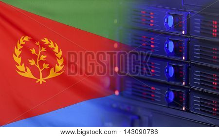 Technology concept consisting of server hardware merging with the Flag of Eritrea for use as local or country internet and hardware security image idea