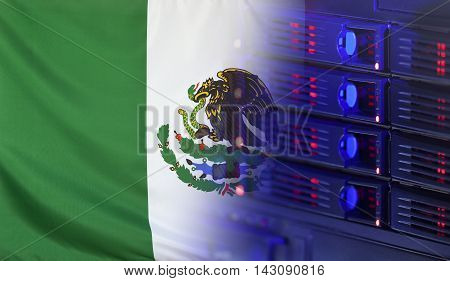 Technology concept consisting of server hardware merging with the Flag of Mexico for use as local or country internet and hardware security image idea