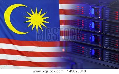 Technology concept consisting of server hardware merging with the Flag of Malaysia for use as local or country internet and hardware security image idea