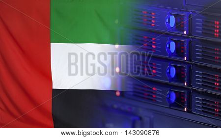 Technology concept consisting of server hardware merging with the Flag of UAE for use as local or country internet and hardware security image idea
