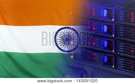 Technology concept consisting of server hardware merging with the Flag of India for use as local or country internet and hardware security image idea