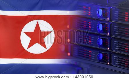 Technology concept consisting of server hardware merging with the Flag of North Korea for use as local or country internet and hardware security image idea