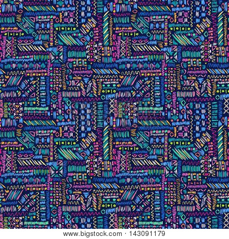 Ethnic Seamless Pattern Abstract Blue Sketch