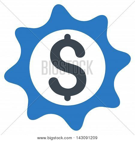 Money Seal icon. Vector style is bicolor flat iconic symbol with rounded angles, smooth blue colors, white background.