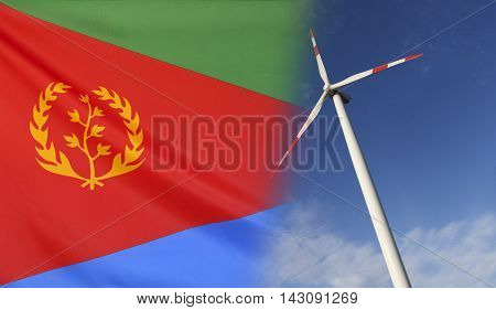 Concept clean energy with flag of Eritrea merged with wind turbine in a blue sunny sky