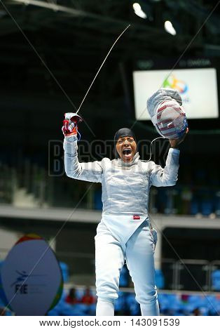 RIO DE JANEIRO, BRAZIL - AUGUST 8, 2016: Ibtihaj Muhammad of the United States competes in the Women's individual sabre of the Rio 2016 Olympic Games at the Carioca Arena 3