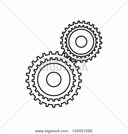 Gear mechanism icon in outline style isolated on white background. Mechanical symbol