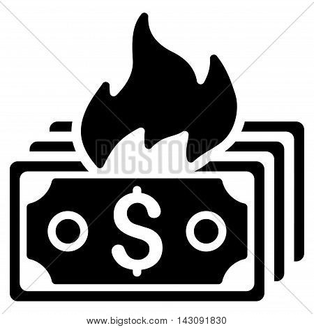 Burn Banknotes icon. Vector style is flat iconic symbol with rounded angles, black color, white background.