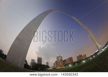 St Louis Gateway Arch sunset to twilight transition in fisheye view