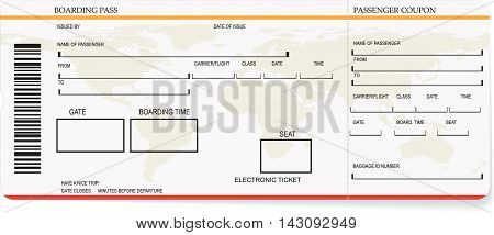 Vector illustration of pattern of a boarding pass or air ticket. Concept of travel, journey or business trip
