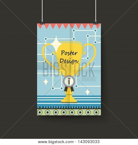 Lovely Poster Template Design With Trophy