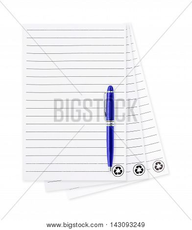 white note paper with pen. isolated on white background. blank paper and pen with lined pattern pages isolated on white background. Paper sheet and pen. isolated on white background.