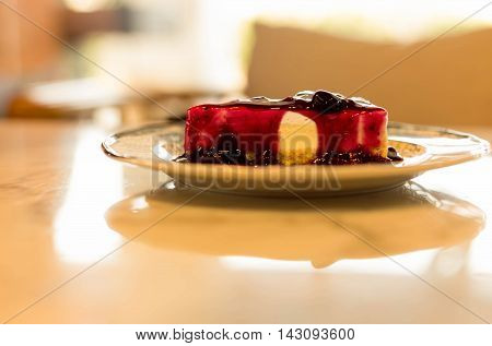 Selected focus blueberry cheese cake on marble table