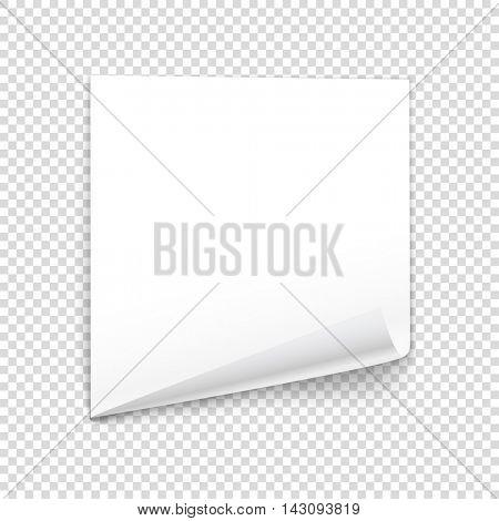 Bended paper sheet isolated on transparent background. Vector illustration