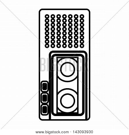 Dictaphone icon in outline style isolated on white background. Sound recording symbol