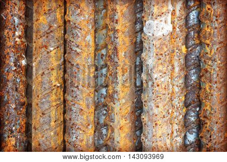Steel bars close- up background. Reinforcing bar background.