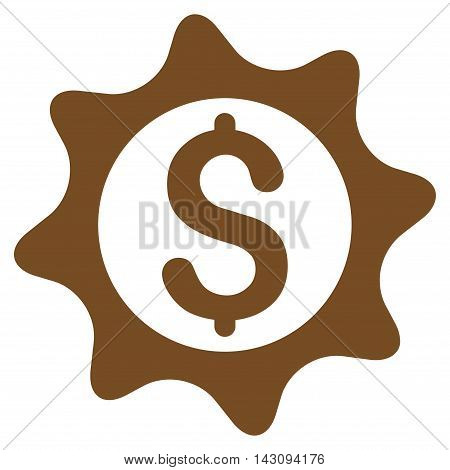 Money Seal icon. Vector style is flat iconic symbol with rounded angles, brown color, white background.