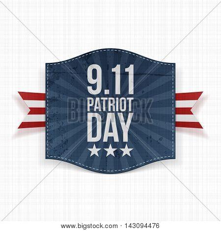 Eleventh September Patriot Day national Label. Vector Illustration