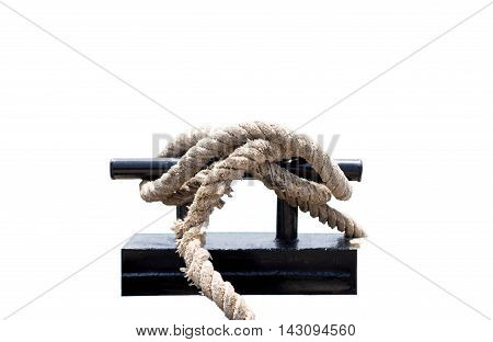 Mooring Bollard with rope tied on pier in white background