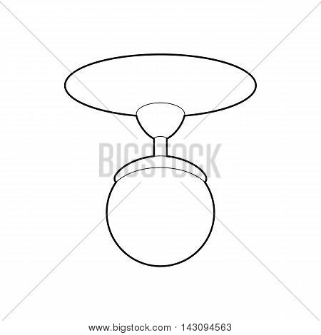 Round chandelier icon in outline style isolated on white background. Illumination symbol