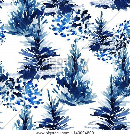 Watercolor christmas tree seamless pattern. Winter fir forest and watercolour brush strokes . Hand painted pine tree illustration on white background