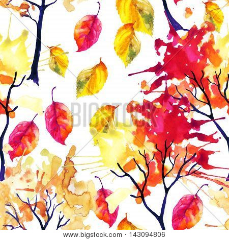 Watercolor autumn trees and falling leaves seamless pattern. Watercolour trees with colorful foliage. Hand painted illustration on white background