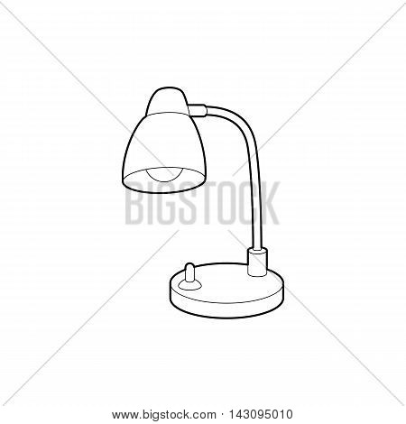 Table lamp icon in outline style isolated on white background. Illumination symbol