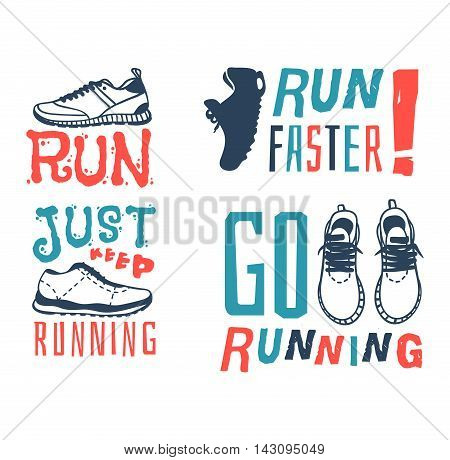 Sport fitness typographic poster run sport motivation logo badge. Run sport motivation text lettering. Motivational and inspirational illustration lettering logo design, banner, poster