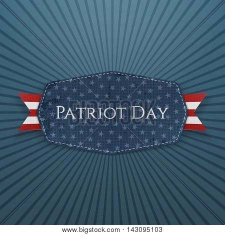 Patriot Day Text on Badge with Ribbon. Vector Illustration