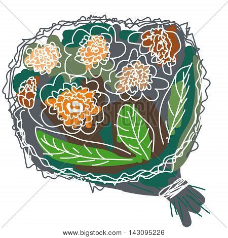 Bouquet with white lines. Vector hand drawn illustration. White backrgound. Naive style.