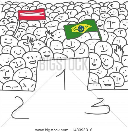 Handdrawn vector illustration of pedestal for winners and crowd soccer fans with flag on white backgrond naive primitive art style with the possibility of coloring
