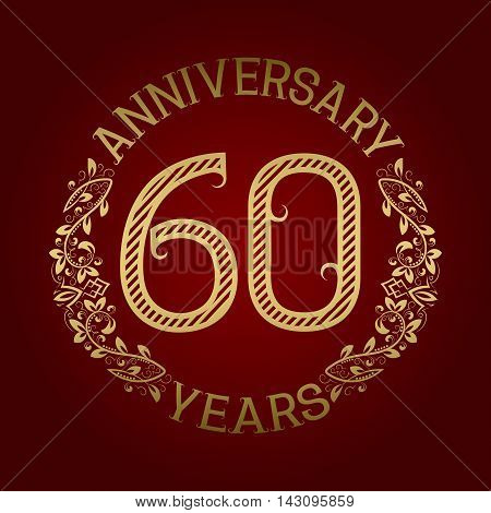 Golden emblem of sixtieth anniversary. Celebration patterned sign on red.