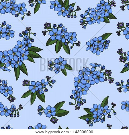 Blue realistic forget-me-not with leaves seamless pattern vector