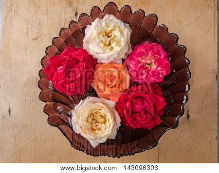 White tea, orange and red roses floating in a glass vase with water on wooden background, top view