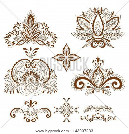 Decorative Element Henna Style Collection. Floral Set For Your Design, Tattoo.