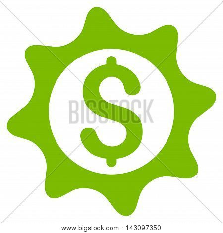 Money Seal icon. Vector style is flat iconic symbol with rounded angles, eco green color, white background.