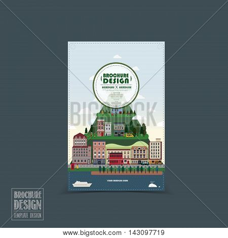 Adorable Town Scenery Brochure Template