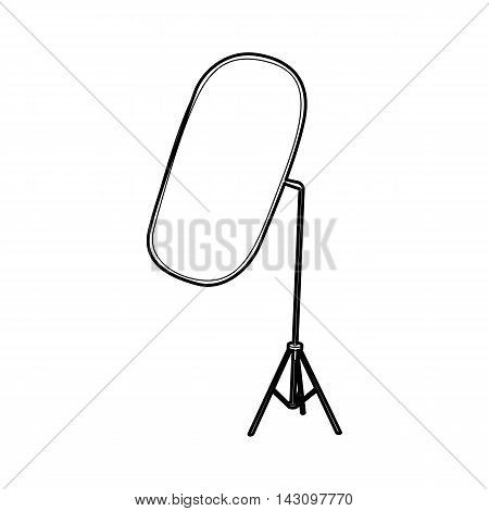 Reflector for photography icon in outline style isolated on white background. Shooting symbol