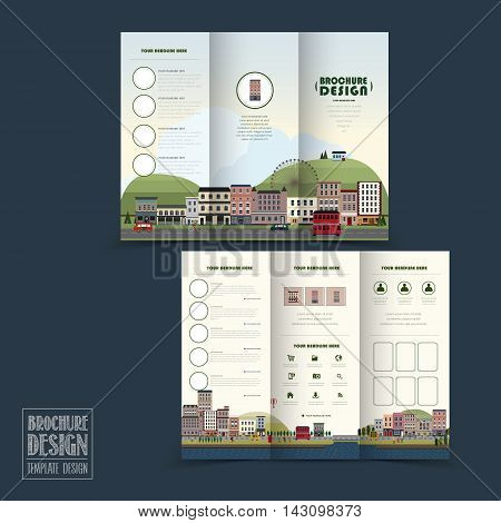 Adorable Town Scenery Tri-fold Brochure Template